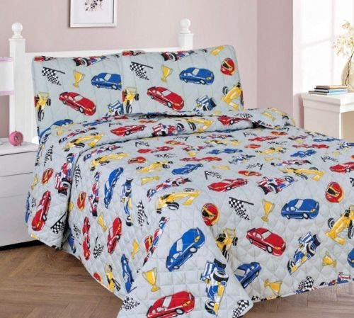 Sapphire Home 3pc Bedspread Quilt Set Full Size for Kids Teens Boys, Race Cars Nascar Bedding Theme Printed Style Bedspread, Gray Full Bedspread + 2 Pillow -
