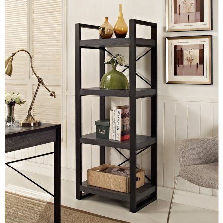 City Grove Media Storage Tower with 4 Tiers Crafted from Manufactured Wood and Metal in Charcoal Gray Finish 24