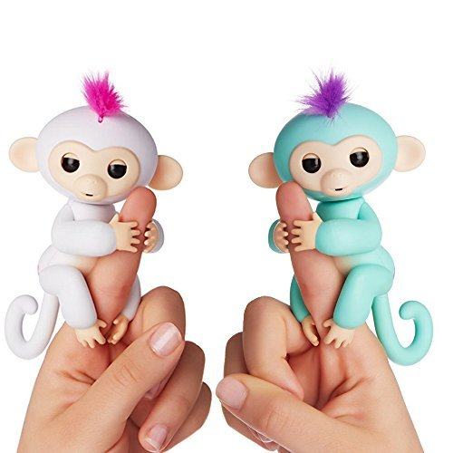 Fingerlings - Interactive Baby Monkeys 2 Pack- Sophie (White with Pink Hair) & Zoe (Turquoise with Purple Hair)- by WowWee