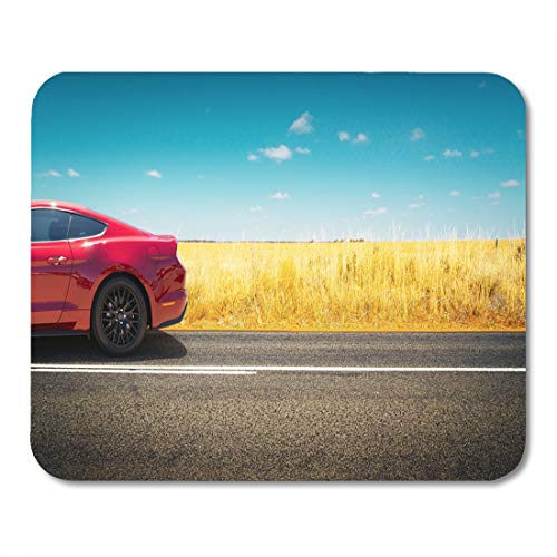 Semtomn Mouse Pad Sport Car Parked on Road Side Field of Golden Mousepad 9.8