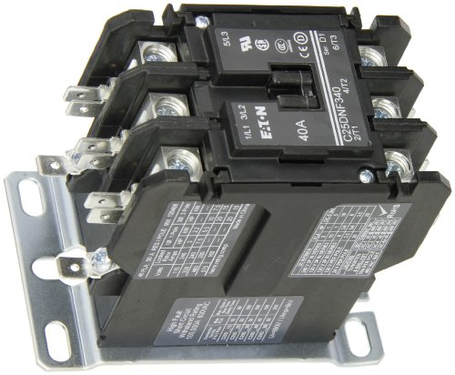 Contactor Single Pole Coil 480vac (Eaton C25DNF340T Definite Purpose Contactor, 50mm, 3 Poles, Box Lugs, Quick Connect Side By Side Terminals, 40A Current Rating, 3 Max HP Single Phase at 115V, 10 Max HP Three Phase at 230V, 20 Max HP Three Phase at 480V, 24VAC Coil Voltage)