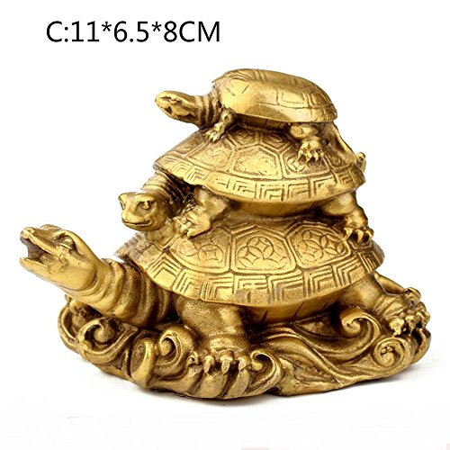 KTYXDE Turtle Handicraft Turtle Three Generations Feng Shui Copper Turtle Ornaments Longevity Turtle Crafts Ornaments (Color : ()