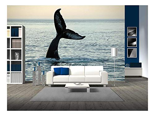 wall26 - Fin of a Humpback Whale - Removable Wall Mural | Self-adhesive Large Wallpaper - 100x144 -