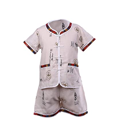 40b0d074df046 Wongfon Enfant Enfants Tang Chinois Style Shirt et pantalon à manches  courtes Vêtements Suti Set pour