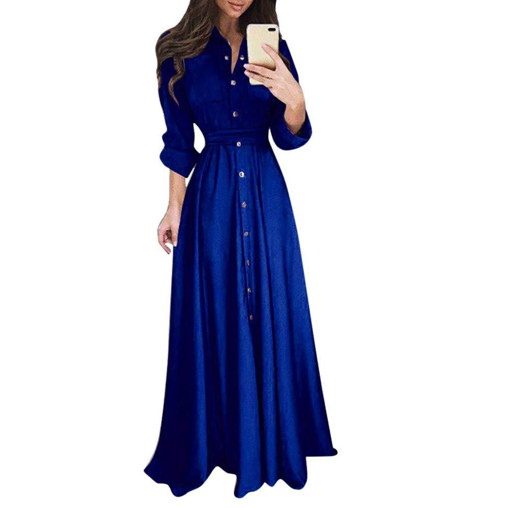 Faldas Mujer Talla Grande, BBestseller 2019 Verano Cuello v Manga Larga Cintura Delgada Vestido de Temperamento Falda Larga Vestir Grande Dress: Amazon.es: ...