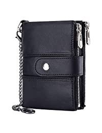 HUANLANG Mens Wallet RFID Leather Wallets with Chain for Men Zipper Wallet with Coin Pocket Multi Card Wallet Men Bifold