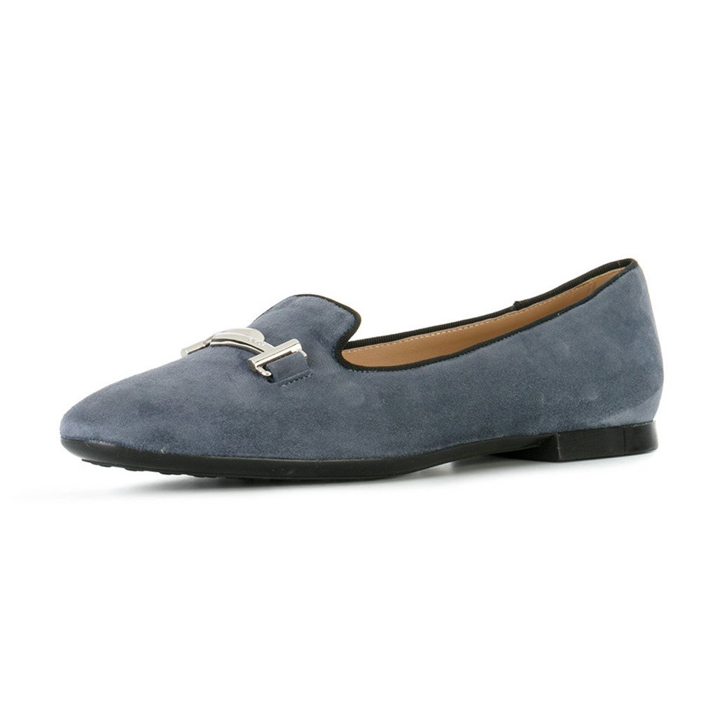 XYD Comfortable Low Heel Slip On Suede Flats Pointed Toe Ballet Loafer Dress Shoes for Women B075SDKVRV 8.5 B(M) US|Gray