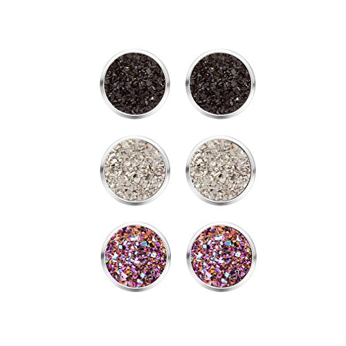 MissNity Faux Druzy Stone Earrings Stud for Girls Black Gray Purple Drusy Stone Silver Tone Fashion Jewelry Unique Birthdays Gift for Her, 3 PCS (A06) by MissNity
