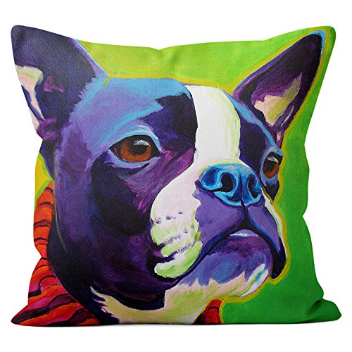Boston Terrier Pillow Throw Pillow Couch Cushion Decorative Accent Pillowcase Case Cover Dog Lover Gift Pet Gifts Dogs Colorful Art (18 Inch X 18 Inch Pillow Cover) Terrier Accent Pillow