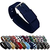 BARTON Watch Bands - Navy Blue 20mm Width - Ballistic Nylon and Stainless Steel
