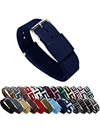 BARTON Watch Bands - Navy Blue 22mm Width - Ballistic Nylon and Stainless Steel
