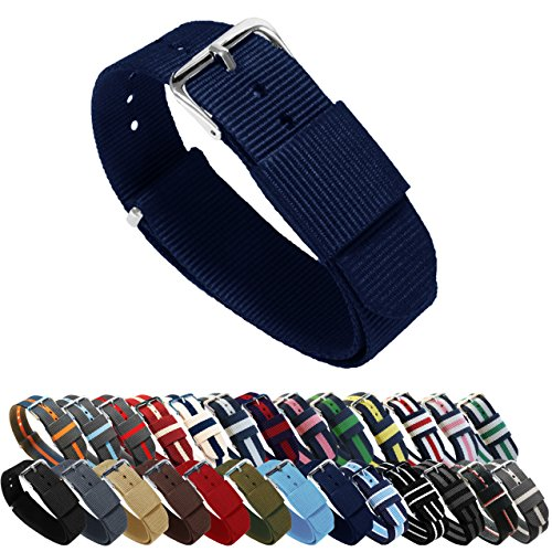 BARTON Watch Bands - Choice of Color, Length & Width (18mm, 20mm, 22mm or 24mm) - Navy Blue 22mm - 'Long' Version