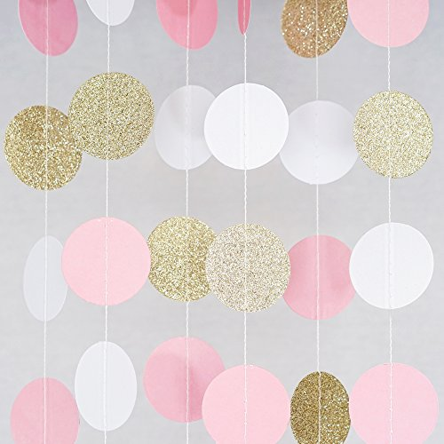 Elizabeth Real Photo - Chloe Elizabeth Circle Dots Paper Party Garland Streamer Backdrop (4-Pack, 10 Feet Per Garland, 40 Feet Total) - Pink, White, Gold Glitter