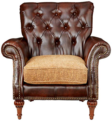 Farmhouse Living Room Furniture ACME AC-0 Sofa, 2Tone Brown PU & Chenille farmhouse sofas and couches