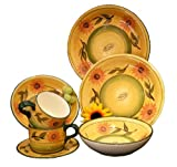 New Tuscany 16pc Dinnerware Sets by ACK (COUNTRY SUNFLOWER 16PC DINNERWARE SET)