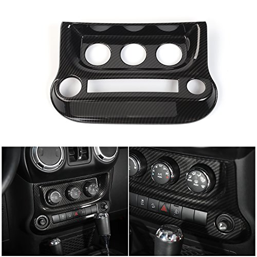 RT-TCZ Interior Accessories Air Conditioning Switch Panel Cover Trim for Jeep Wrangler 2011-2017(Carbon Fiber)