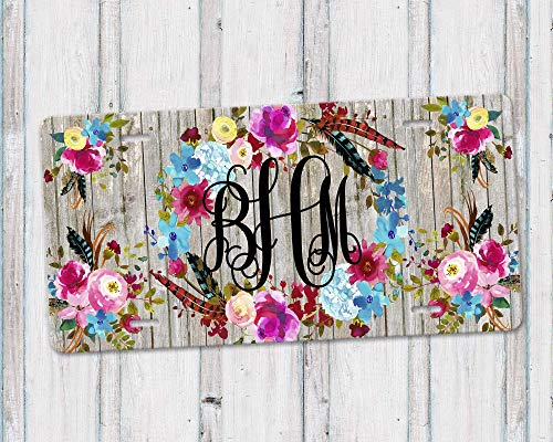 Personalized Monogram Aluminum License Plate with Boho Floral Wreath and Grey Weathered Barn Wood Background