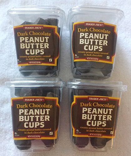 (NEW Trader Joe's Dark Chocolate Peanut Butter Cups 4 PACK NO ARTIFICIAL FLAVORS 1 lb each Container NO PRESERVATIVES)
