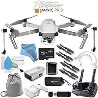 DJI Mavic Pro Platinum CP.PT.00000071.01 + DJI Goggles FPV Headset CP.PT.000672 + DJI Goggles Sleeve CP.PT.000878 + Aircraft Sleeve for Mavic Pro Quadcopter + 64GB microSDXC Bundle