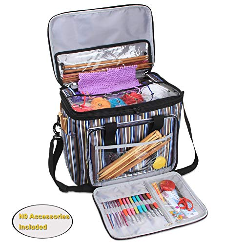 Teamoy Yarn Storage Bag, Knitting Tote Bag Organizer for Crochet Hooks and Supplies, Portable Knitting Yarn Storage Bag with Cover and Inner Divider, Stripes(No Accessories Included) (Totes Bags Knitting)
