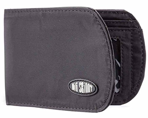 Big Skinny Men's RFID Blocking Curve Bi-Fold Slim Wallet, Holds Up to 20 Cards, Black