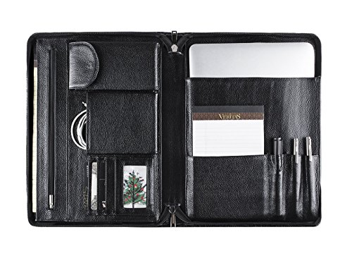 Professional Leather Portfolio Document Organizer, Padfolio Folder Case for MacBook/iPad / Microsoft Surface Book, Full-Grain Leather, Letter Size, Black