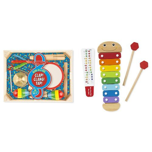 Melissa & Doug Band in a Box & Caterpillar Xylophone Bundle