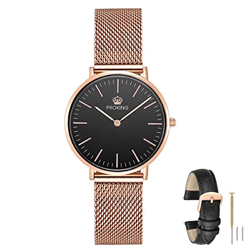 Womens Watch,PROKING Ladies Fashion Ultra Thin Waterproof Rose Gold Stainless Steel Watch for Women, Dress Elegant Casual Sapphire Crystal Wrist Watches with Genuine Leather Band(Women, Black)