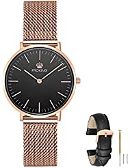 PROKING Womens Watch, Waterproof Rose Gold Watches,Couple Watches Sapphire Crystal Ultra thin Stainless Steel...