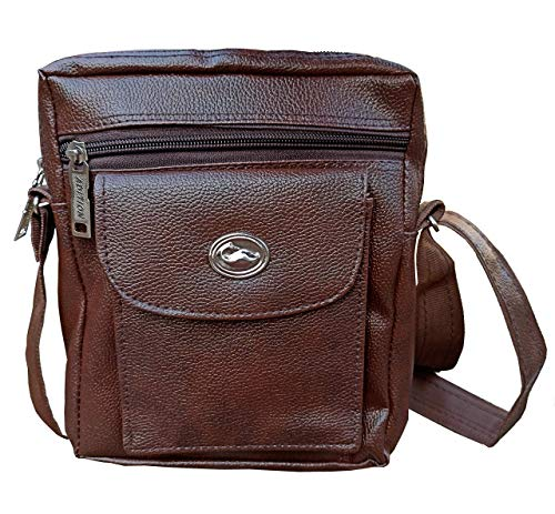 UKNS Brown Sling Double Zip Messenger, Business Travel, Shoulder, Cross Body Bag 10-Inch Size & Stylish Look for Men & Women and Students, Business, Office Work Soft Leather Material 5 LTR Capacity