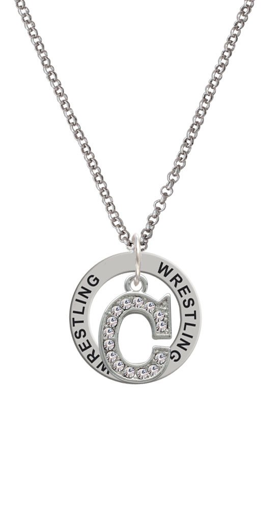 Silvertone Crystal Initial - C - Wrestling Affirmation Ring Necklace