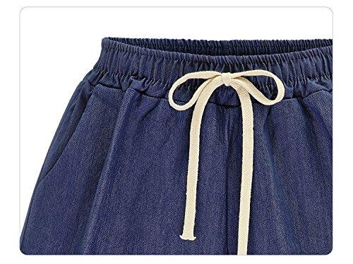 Blu Navy Pantaloni Abbigliamento Taglie Donna Woman Plus Coulisse Size Estivi Corta Moda Sciolto Solido Casuali Pantaloncini Forti Shorts Elegante Ragazza UB1npwqq6H