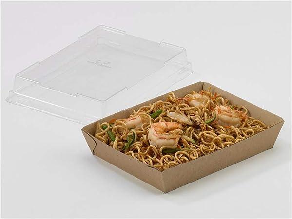 Bandeja de cartón para sushi con tapa incluida 180x130x30 m - Caja: Amazon.es: Hogar