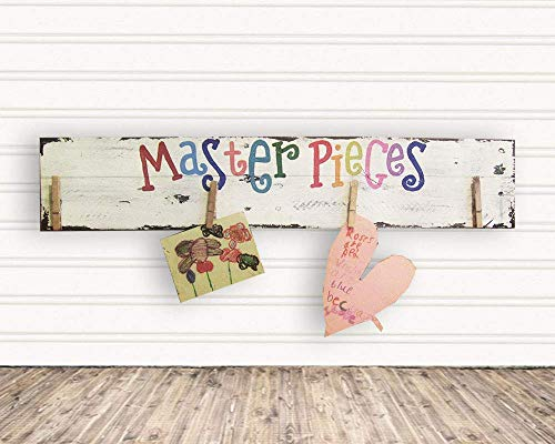 Personalized Kids Artwork Display Hanging Wood Sign Masterpieces for Room Decor F11 from Lydia's Graphic Pallet Signs