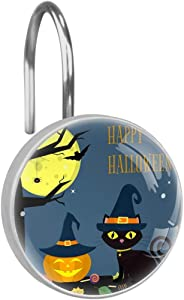LORVIES Halloween Cat Pumpkin Hat Decorative Shower Curtain Hooks Rings Stainless Steel Rust-Resistant Set of 12