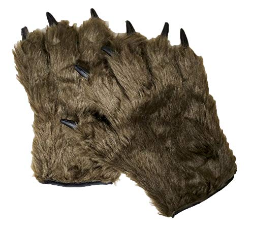 Novelty Giant Adult Text Friendly Furry Brown Werewolf Monster Hairy Costume Open Finger Gloves