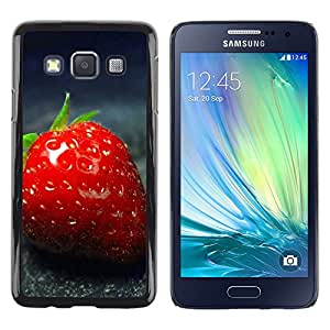 LECELL--Funda protectora / Cubierta / Piel For Samsung Galaxy A3 SM-A300 -- Strawberry Red Close Up Summer Fruit --