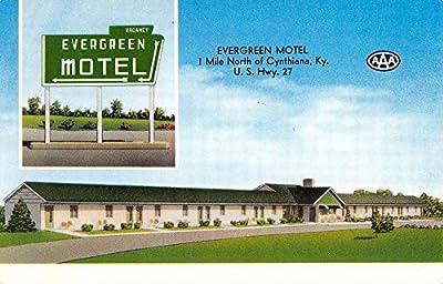 Cynthiana Kentucky Evergreen Motel Street View Vintage Postcard K54099
