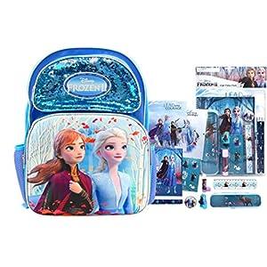Disney Frozen 2 Full Size Anna & Elsa Sequin Backpack PLUS Stationery Set