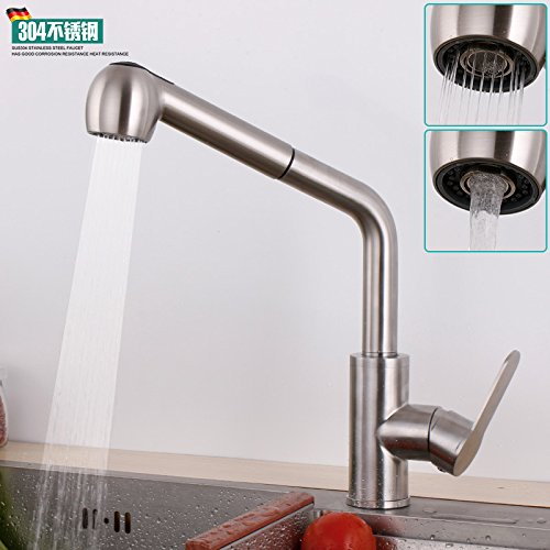Hand-held Pull-out Faucet - With Hose Single Lever Pull Down Kitchen Sink Faucet Brassredating Lead-Free hot and Cold Kitchen Faucet 304 Stainless Steel Pull-Drawing Brushed Sink Sink Double Shower,Hand-held Pull Faucet - with Hose
