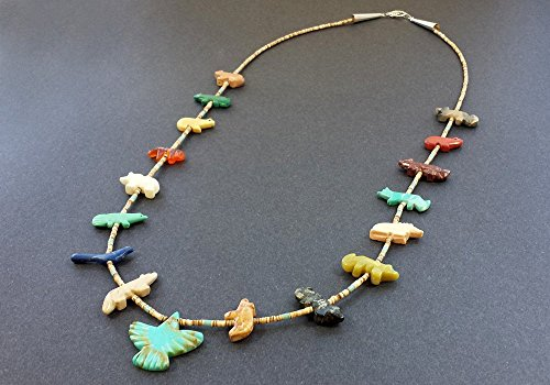 - Hand Carved Single Strand Thunderbird Multicolored Mixed Fetish Necklace