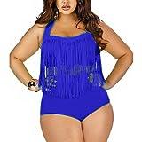 The Cane Women's Plus Size High Waist Two Piece Fat Tassel Swimsuits Bikini Set Color Blue Size 2XL