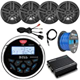 16-25 Bay Boat Marine System Includes: Bluetooth Receiver, 4 x 6.5 Water-Resistant Speakers, 4-Channel Amplifier, 50ft Speaker Wire, Antenna, USB Aux Interface Mount