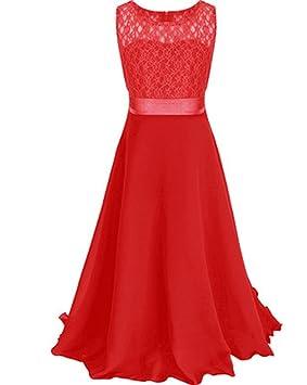 MISSMAO Niñas Vestidos de Encaje Vestido Largo de Ceremonia Boda Fiesta Princesa Rojo 120CM