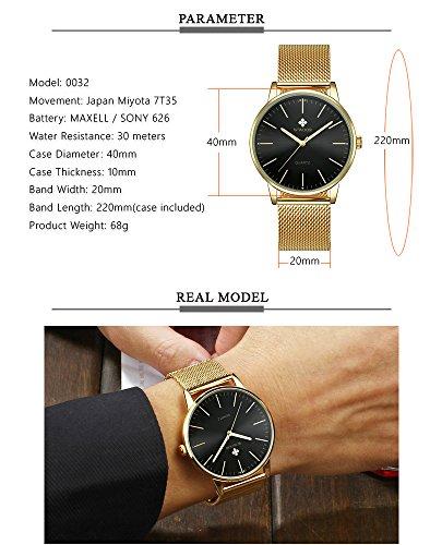 Mens Simple Slim Watch Analog Quartz Waterproof Stainless Steel Mesh Band Casual Wrist Watches