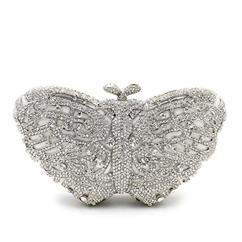 Women\'s Clutch Bag Fashion Classic Compact Bag With Rhinestone Butterfly Lady Dinner Bag Evening Party Cocktail (Color 4)