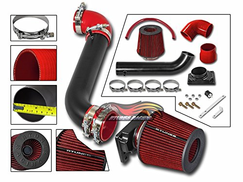 (S&T Racing MATT Black Short Ram Air Intake Kit + RED for 00-05 Mitsubishi Eclipse 99-03 Galant 2.4L)