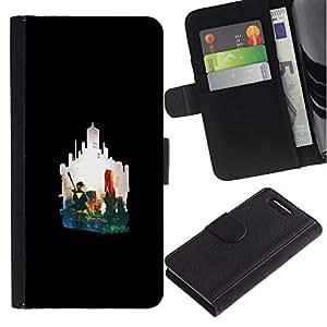 YiPhone /// Tirón de la caja Cartera de cuero con ranuras para tarjetas - Silueta de la ciudad - Sony Xperia Z3 Compact