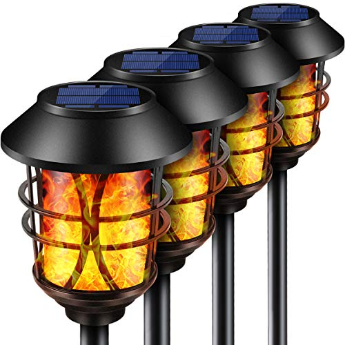 TomCare Solar Lights Metal Flickering Flame Solar Torches Lights Waterproof Outdoor Heavy Duty Lighting Solar Pathway Lights Landscape Lighting Dusk to Dawn Auto On/Off for Garden Patio Yard, 4 Pack ()