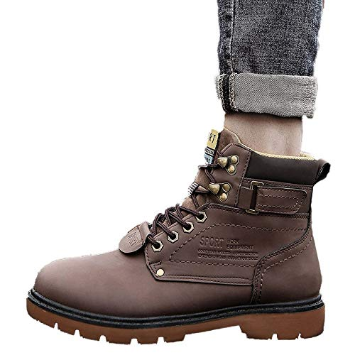 Martin De Forrado Deslizamiento Piel Marrón Impermeables Cuero Cálido Zapatos Hombre No Invierno 2018 Seguridad 2 Botas Casual fXwERxqq1